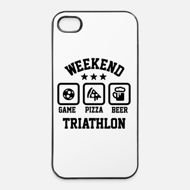 Weekend Weekend triathlon pizza beer soccer Football  - Coque rigide iPhone 4/4s