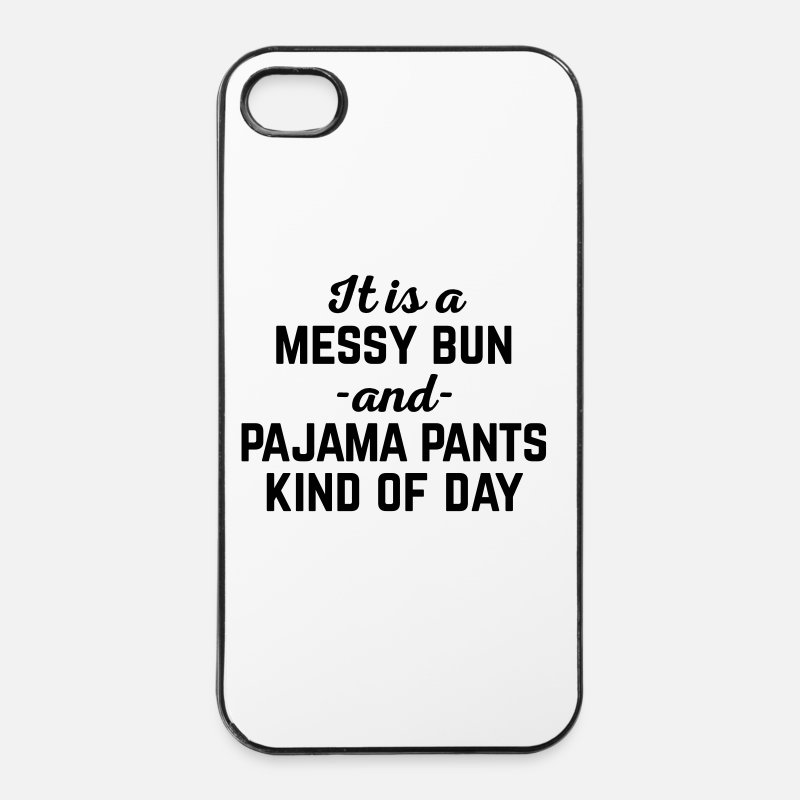 Crazy iPhone Cases - Messy Bun Day Funny Quote - iPhone 4 Case white/black