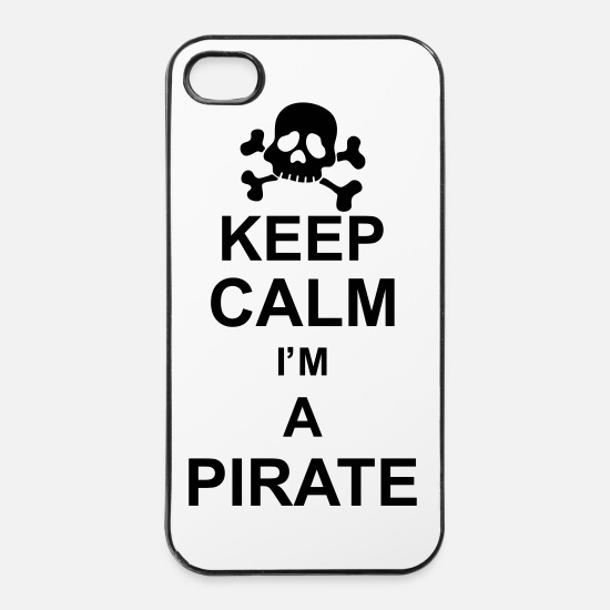 Knochen iPhone Hüllen - keep calm I'm a pirate kg10 - iPhone 4 & 4s Hülle Weiß/Schwarz