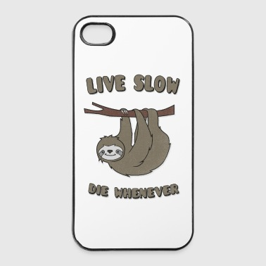 Funny & Cute Sloth Live Slow Die Whenever Slogan - iPhone 4/4s Hard Case