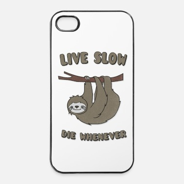 Lat Funny & Cute Sloth Live Slow Die Whenever Slogan - Hårt iPhone 4/4s-skal