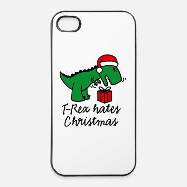 Ugly Christmas T-Rex hates Christmas ugly xmas Dinosaurier Santa - iPhone 4 & 4s Hülle