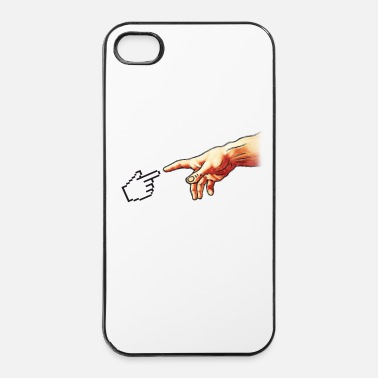 Freak Funny 8bit Nerd & Geek Humor (Creation of Adam) - iPhone 4/4s hard case