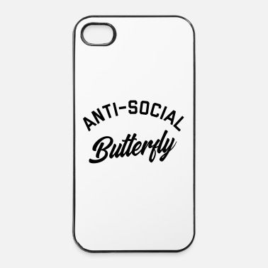 Social Anti-Social Butterfly Funny Quote - Carcasa iPhone 4/4s