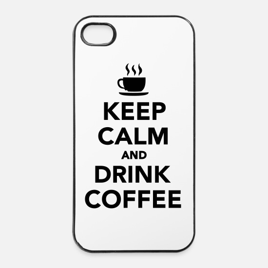 Kaffee iPhone Hüllen - Keep calm and drink coffee - iPhone 4 & 4s Hülle Weiß/Schwarz