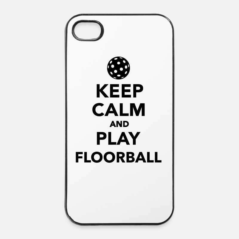 Unihockey iPhone Cases - Keep calm and play Floorball - iPhone 4 Case white/black