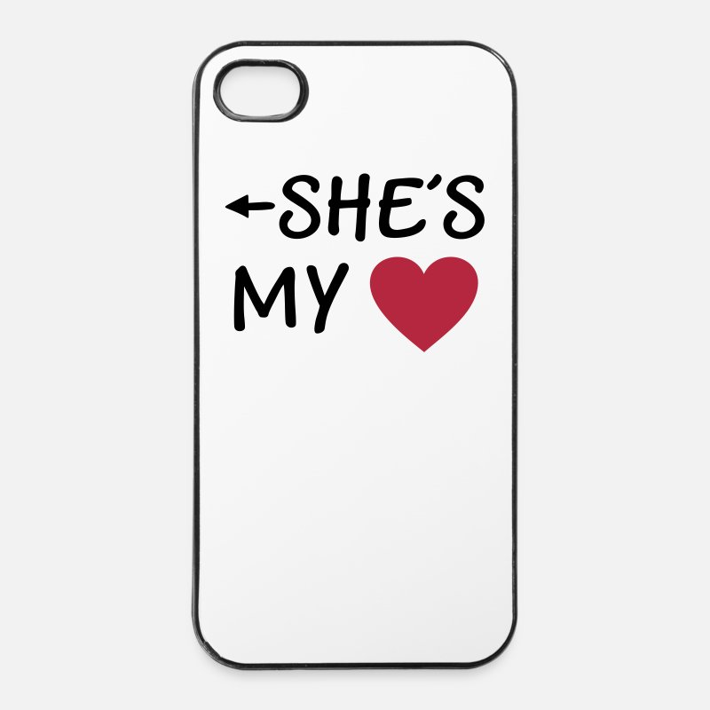 Boyfriend iPhone Cases -  I love you u my Boyfriend girlfriend husband wife - iPhone 4 Case white/black