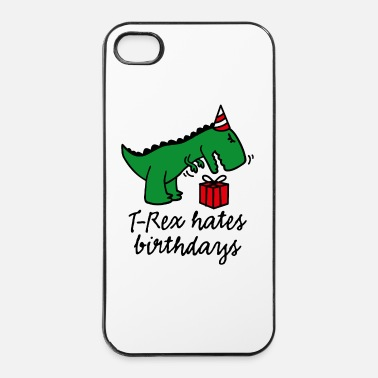 Happy Birthday T-Rex hates birthdays compleanno dinosauro - Custodia rigida per iPhone 4/4s