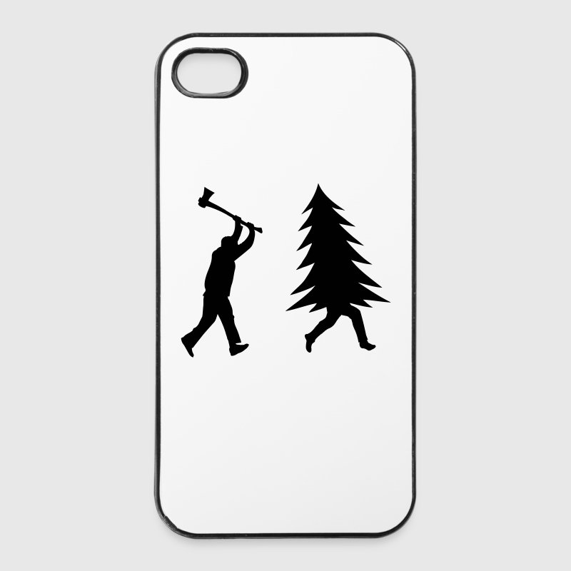 Funny Christmas tree is chased by Lumberjack - iPhone 4/4s Hard Case