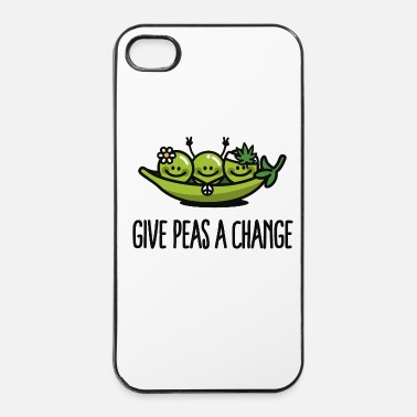 Hippie Give peas / peace a change hippies - Coque rigide iPhone 4/4s