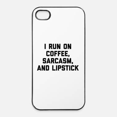 Sarcasme Run Coffee, Sarcasm & Lipstick Funny Quote - Coque rigide iPhone 4/4s