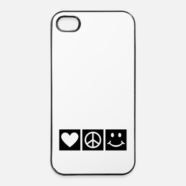 Souris Love Peace Happiness Bonheur l'amour sourir - Coque rigide iPhone 4/4s