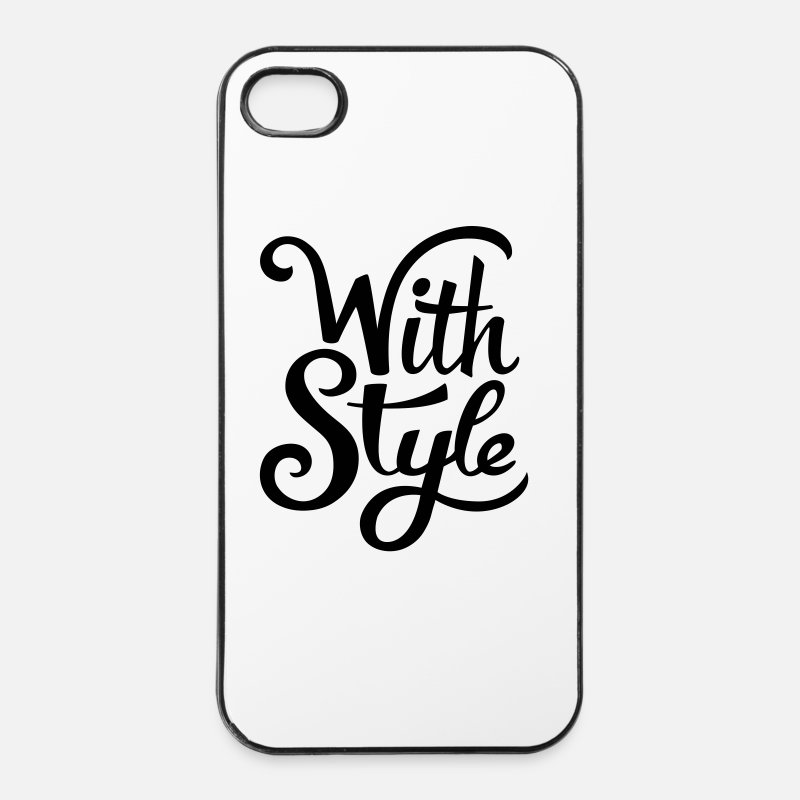 Style Carcasas iPhone - With Style! Cool & Trendy Diseño de la tipografía - Funda para iPhone 4 & 4s blanca/negro