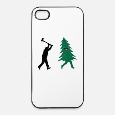 Christmas Funny Christmas Tree Hunted by lumberjack Humor - Carcasa iPhone 4/4s