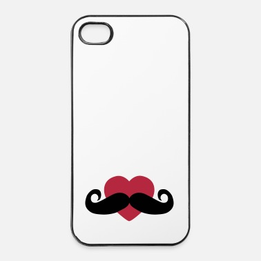 Moustache heart moustache / love moustache - Coque rigide iPhone 4/4s