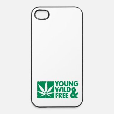 Trance young wild and free weed leaf boxed - Coque rigide iPhone 4/4s