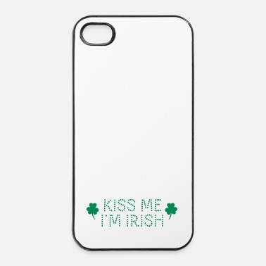 Kiss kiss me i'm irish dotted / shamrock / st paddy's - Carcasa iPhone 4/4s