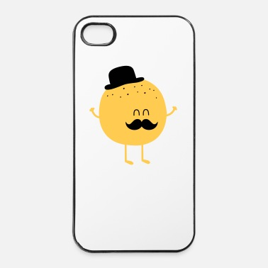 Sir  Funny Orange with Mustache - Carcasa iPhone 4/4s