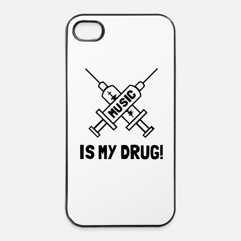Dj iPhone Cases - Music Is My Drug - Love Music - iPhone 4 & 4s Case white/black