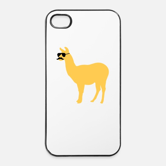 Bestsellers Q4 2018 iPhone Hüllen -  Funny llama with sunglasses and mustache - iPhone 4 & 4s Hülle Weiß/Schwarz