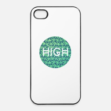 Cannabis HIGH / cannabis Hipster Typo - Pattern Design  - Custodia rigida per iPhone 4/4s