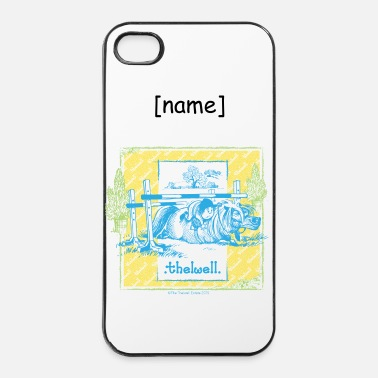 Geel Pony valt blauw geel Thelwell Cartoon - iPhone 4/4s hard case