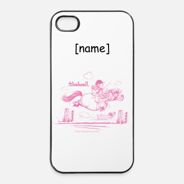 Dressuur Pony sprong roze Thelwell Cartoon - iPhone 4/4s hard case