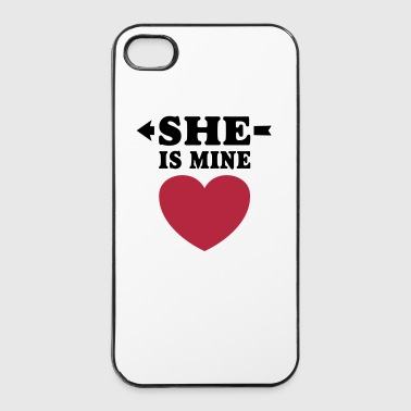 She is mine I love you my Girlfriend Kocham cię - Twarde etui na iPhone 4/4s