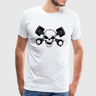 Skull with engine pistons - Men's Premium T-Shirt