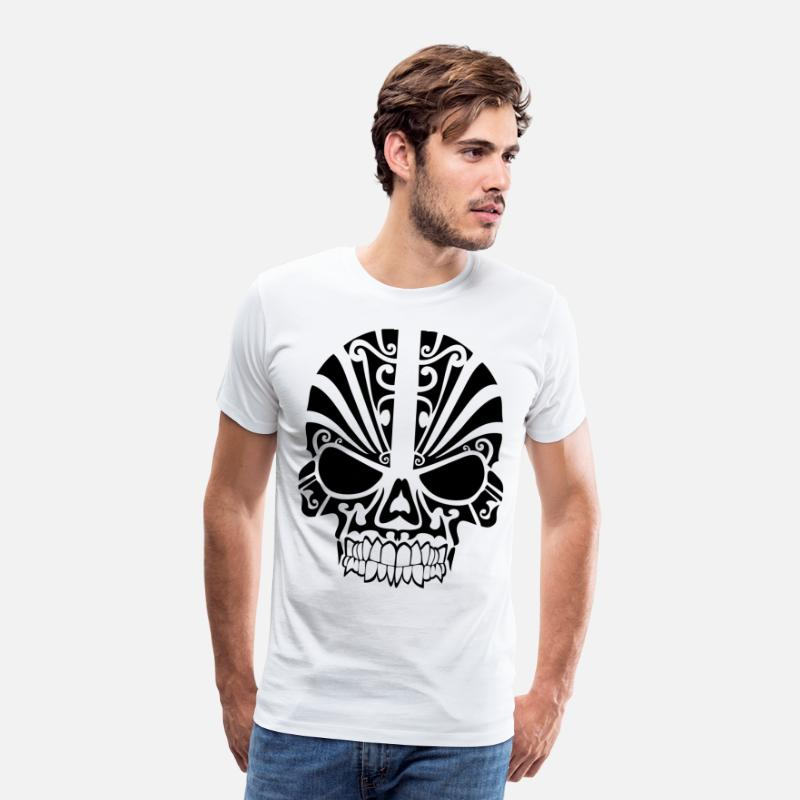 Tribal T-Shirts - mad skull - Men's Premium T-Shirt white
