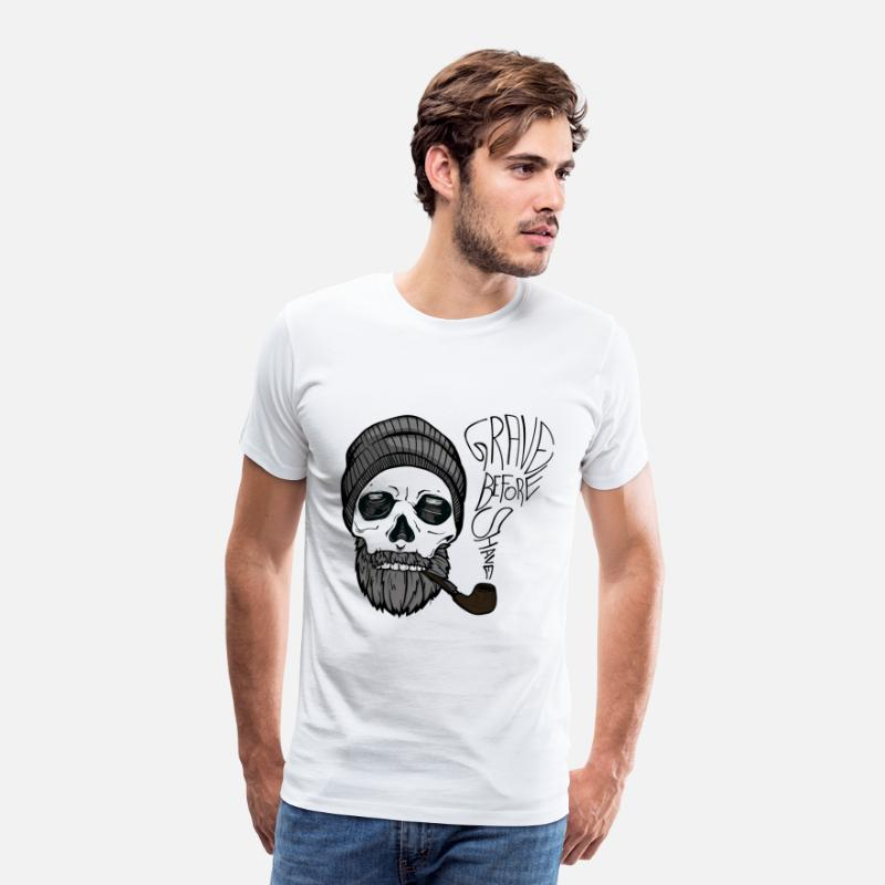 Beard T-Shirts - Grave before shave - beard design - 100% beard - Men's Premium T-Shirt white