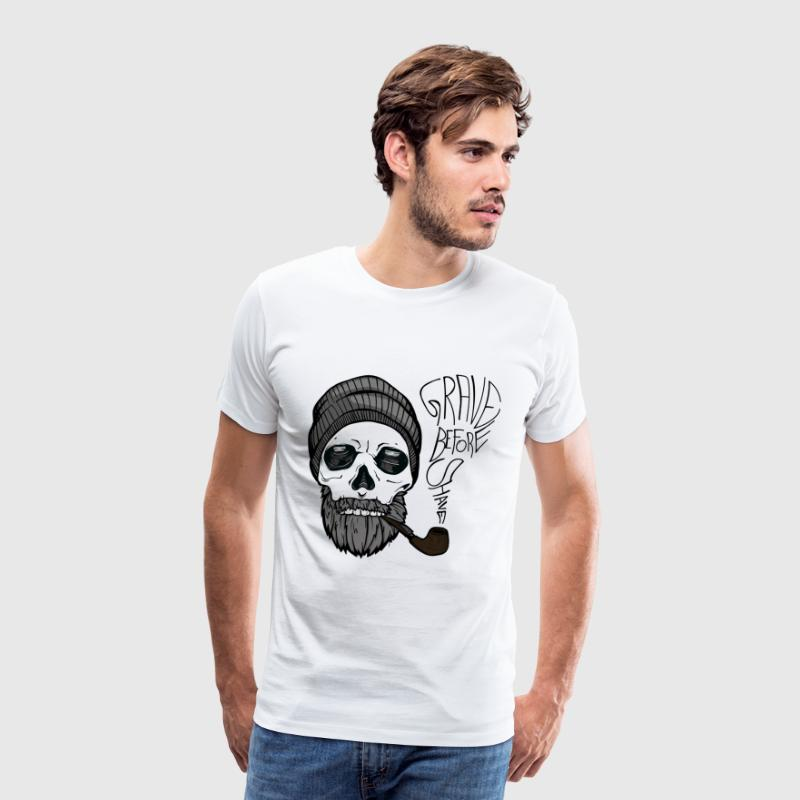 Grave before shave - beard design - 100% beard - Men's Premium T-Shirt
