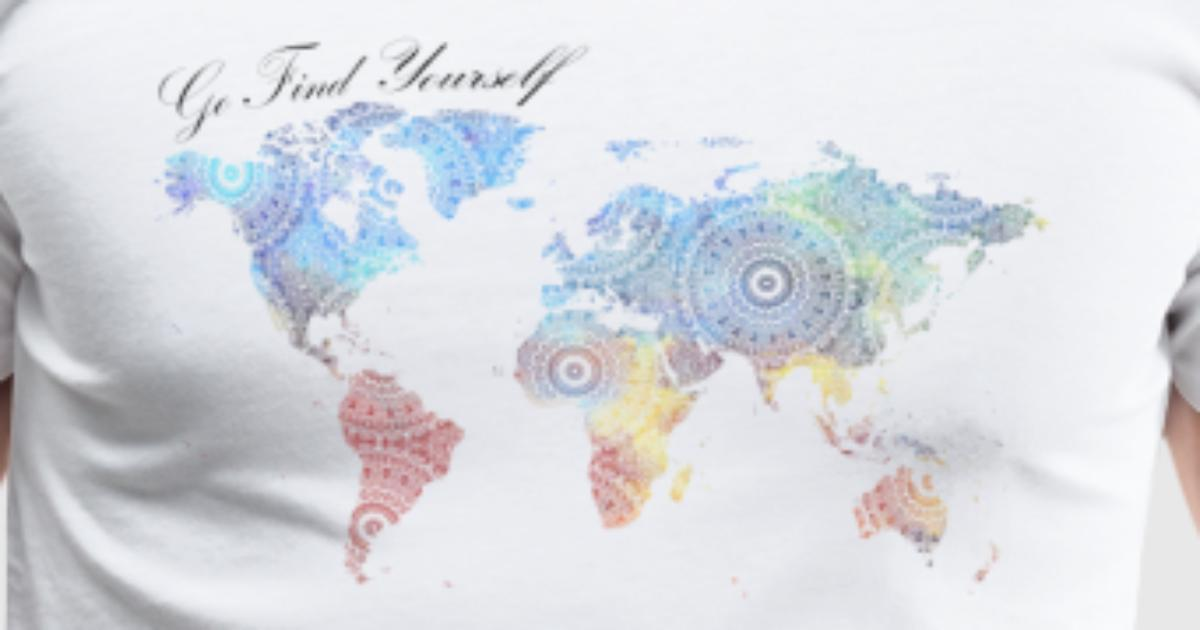 Go Find Yourself World Map With Mandala By Bymotivationwall - Mandala map of the world