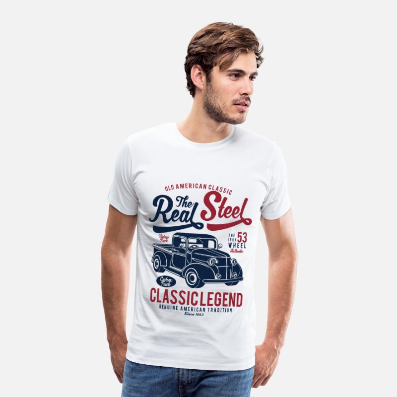 Steel T-Shirts - THE REAL STEEL - Vintage Retro Truck Shirt Design - Men's Premium T-Shirt white