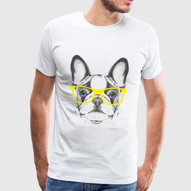 French Bulldog Yellow Glasses - Mannen Premium T-shirt