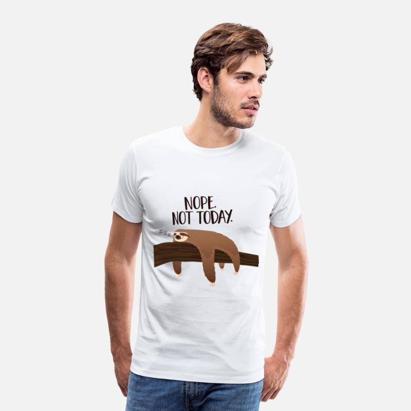 Faultier T-Shirts - Sleeping Sloth | Nope. Not Today. - Männer Premium T-Shirt Weiß
