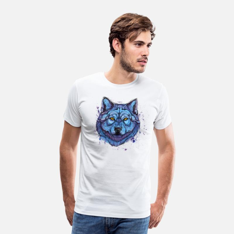Animal Collection T-shirts - loup - T-shirt premium Homme blanc