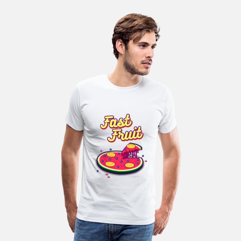 Vegan T-Shirts - Fast Fruit - Mannen premium T-shirt wit