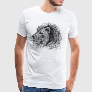 Lion Scribble - Premium T-skjorte for menn