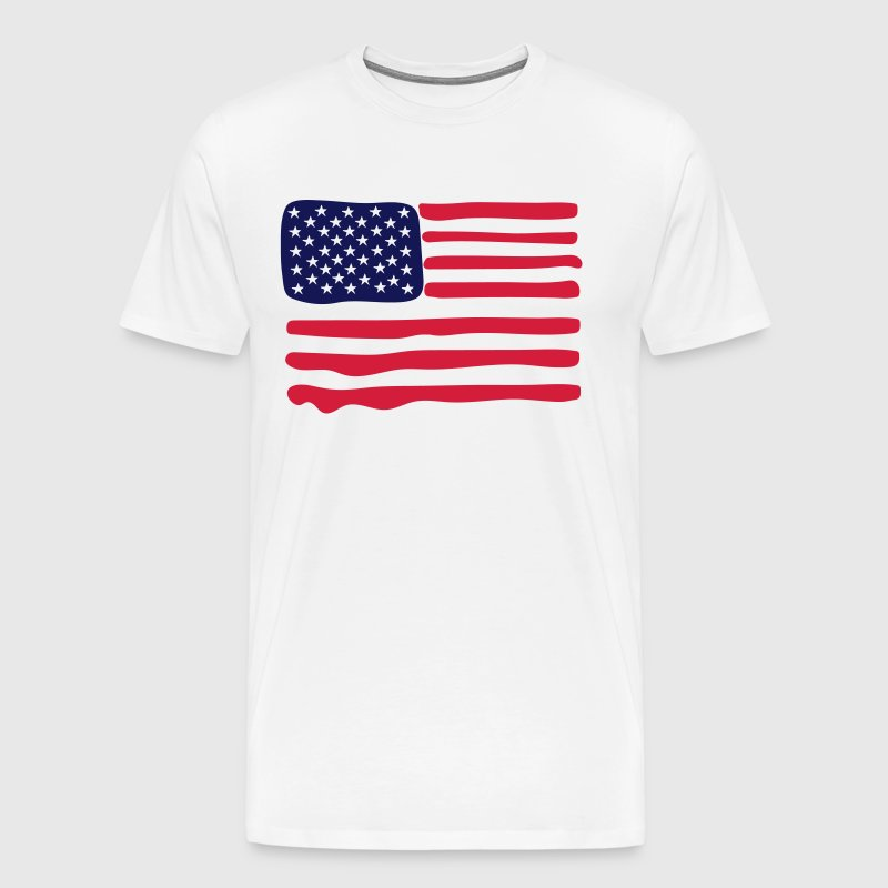 American Flag runny paint - Men's Premium T-Shirt