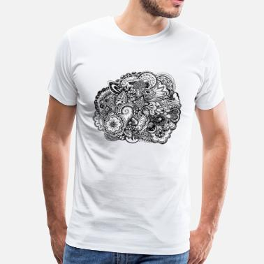 Black and white pen and ink doodle Bottles & Mugs - Men's Premium T-Shirt