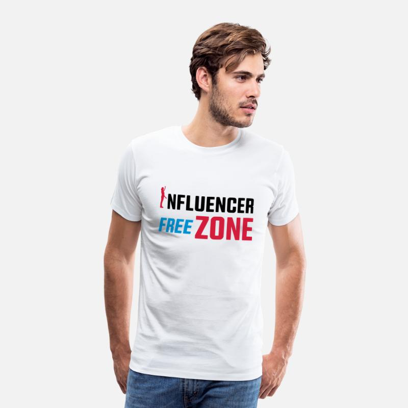 Influenza T-Shirts - INFLUENCER FREE ZONE / NO INFLUENCER - Men's Premium T-Shirt white