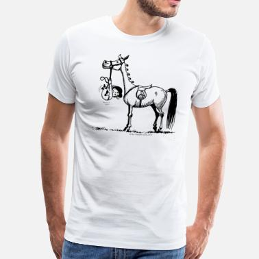 Funny Stubborn Pony Thelwell Cartoon - Men's Premium T-Shirt