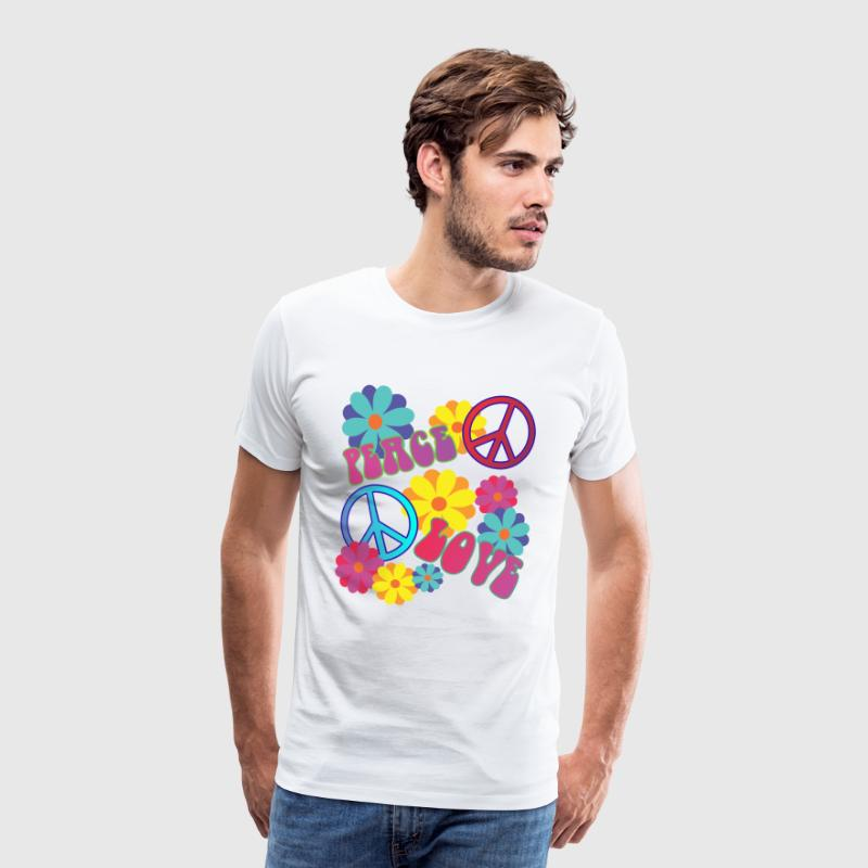 058 - love peace hippie flower power - Männer Premium T-Shirt