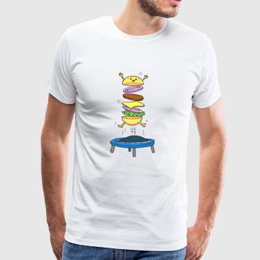 Burger Hamburger Cheeseburger Jumping - Männer Premium T-Shirt