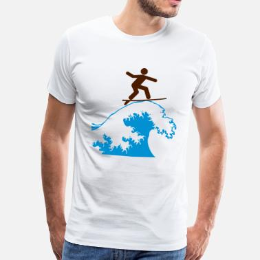 Surfing WAVE SURFING - Herre premium T-shirt