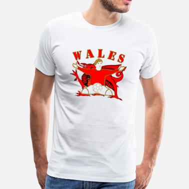 Football Design Wales Uk wales football celebration design - Men's Premium T-Shirt