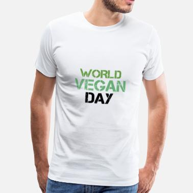 Dyr Hjelpe World Vegan Day - Premium T-skjorte for menn