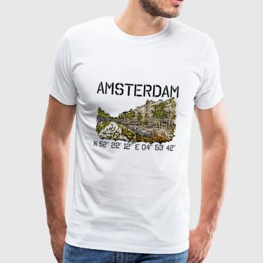 Amsterdam with coordinates and drawing of canal - Men's Premium T-Shirt