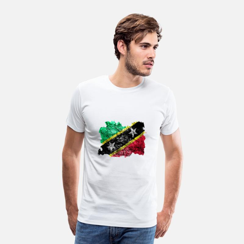 St T-Shirts - St. Kitts and Nevis vintage flag - Men's Premium T-Shirt white
